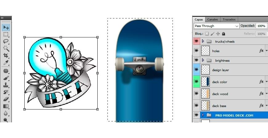 Modelo para fazer o design de um skate