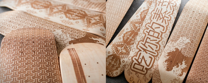 Laser engraving on skateboard, a new exclusive art