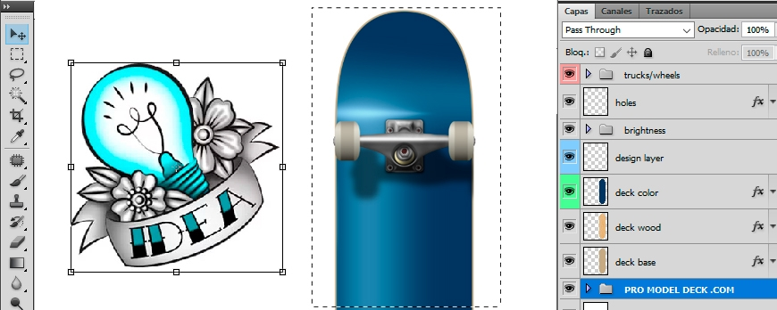 Template to make the design of a Skateboard